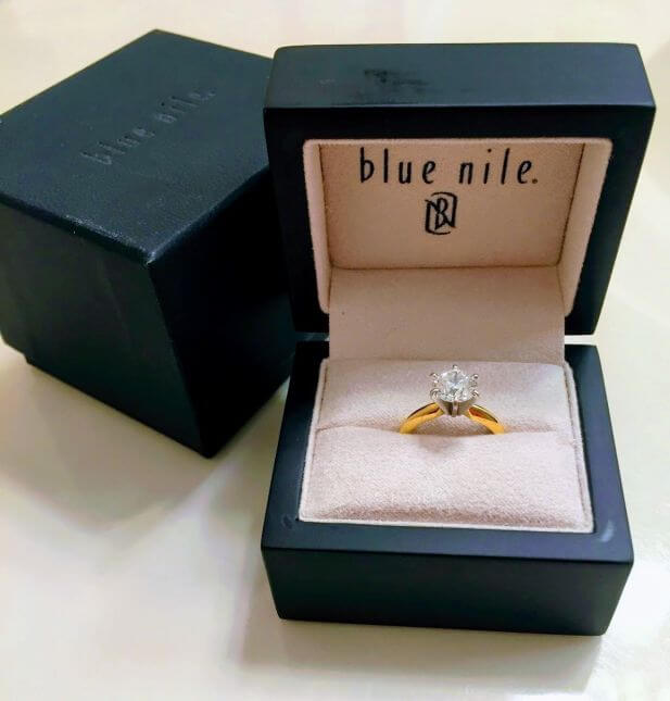 Blue Nile engagement ring and box